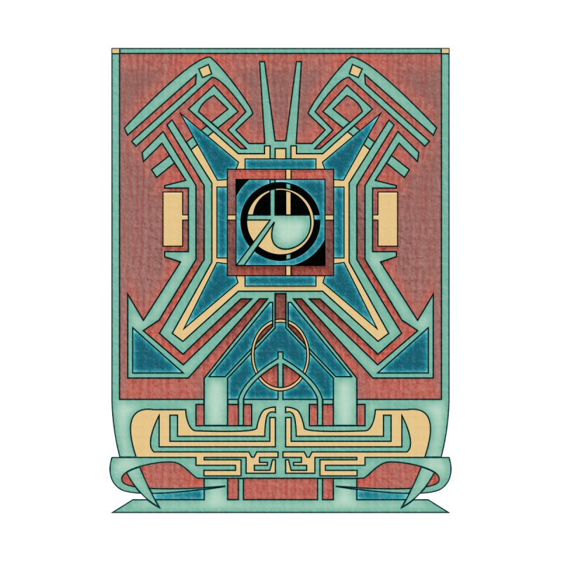Ancient Guardian - Mesoamerican Inspired Art Deco Men's Cut & Sew by RML Studios: The Art & Design of Ryan Livingston