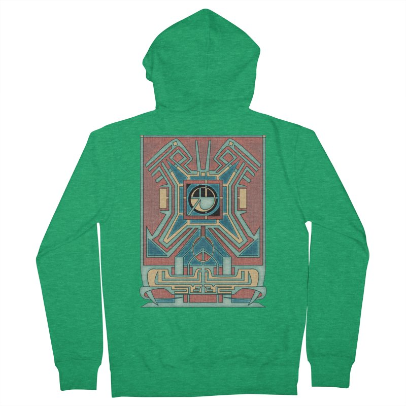 Ancient Guardian - Mesoamerican Inspired Art Deco Women's Zip-Up Hoody by RML Studios: The Art & Design of Ryan Livingston