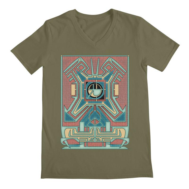 Ancient Guardian - Mesoamerican Inspired Art Deco Men's V-Neck by RML Studios: The Art & Design of Ryan Livingston