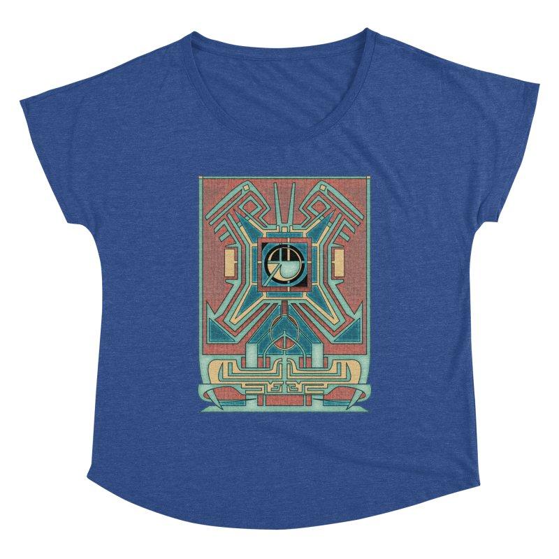Ancient Guardian - Mesoamerican Inspired Art Deco Women's Scoop Neck by RML Studios: The Art & Design of Ryan Livingston