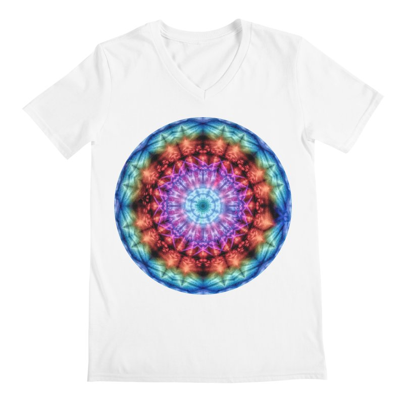 Plasmagoria -  Tie Dye Psychedelic Mandala Men's V-Neck by RML Studios: The Art & Design of Ryan Livingston