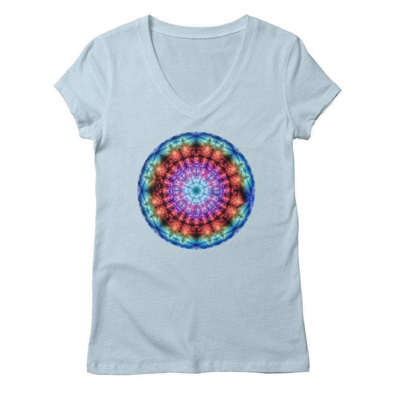 Plasmagoria -  Tie Dye Psychedelic Mandala Women's V-Neck by RML Studios: The Art & Design of Ryan Livingston