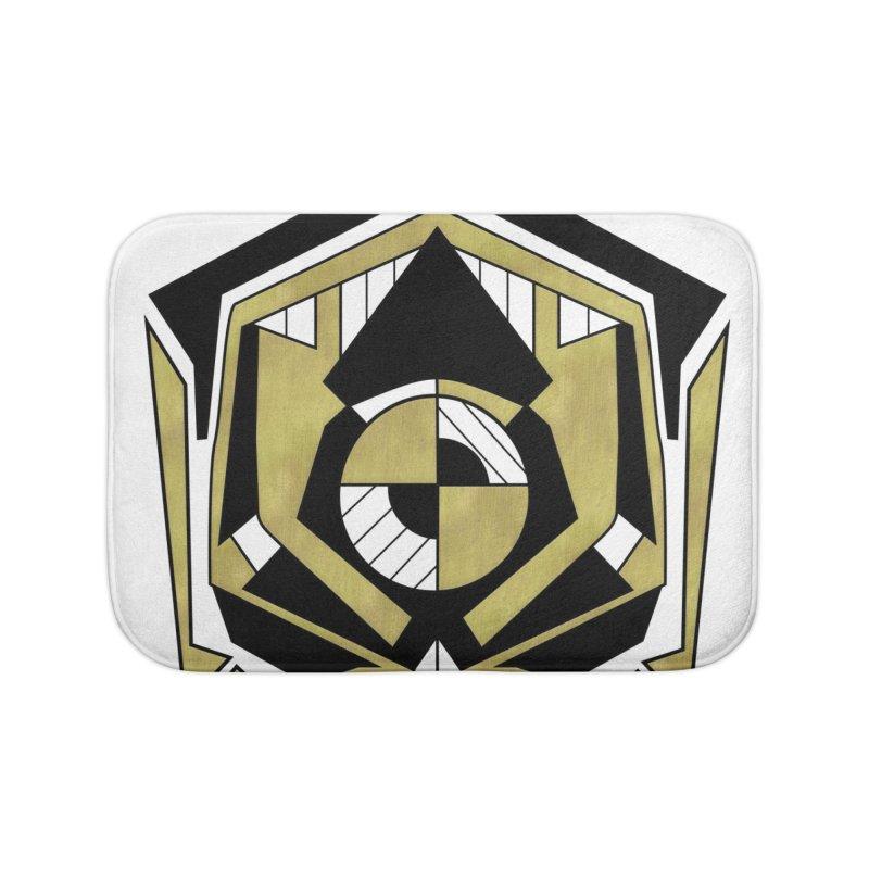 Cybernetic Apple - Faux Metallic Geometric Design Home Bath Mat by RML Studios: The Art & Design of Ryan Livingston
