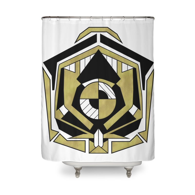 Cybernetic Apple - Faux Metallic Geometric Design Home Shower Curtain by RML Studios: The Art & Design of Ryan Livingston