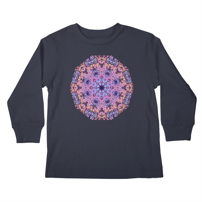 Bioluminescence - Neon Mandala Kids Longsleeve T-Shirt by RML Studios: The Art & Design of Ryan Livingston