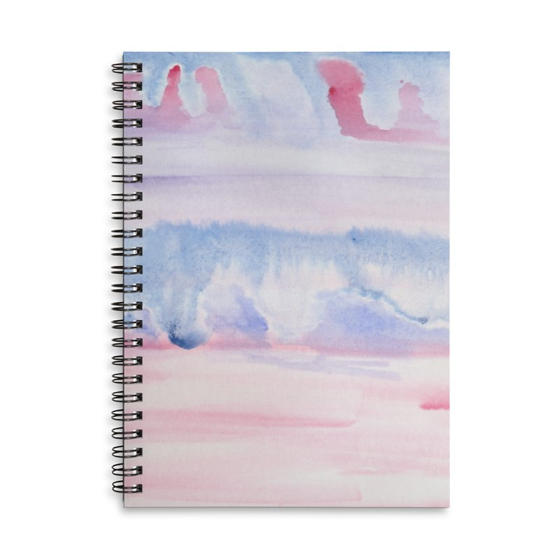 Pink Sky Watercolor Wash Accessories Lined Spiral Notebook by Rachel Mambach Art Shop