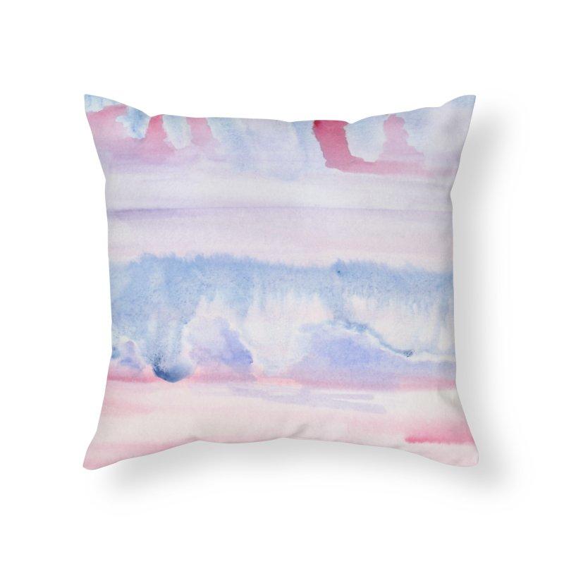 Pink Sky Watercolor Wash Home Throw Pillow by Rachel Mambach Art Shop