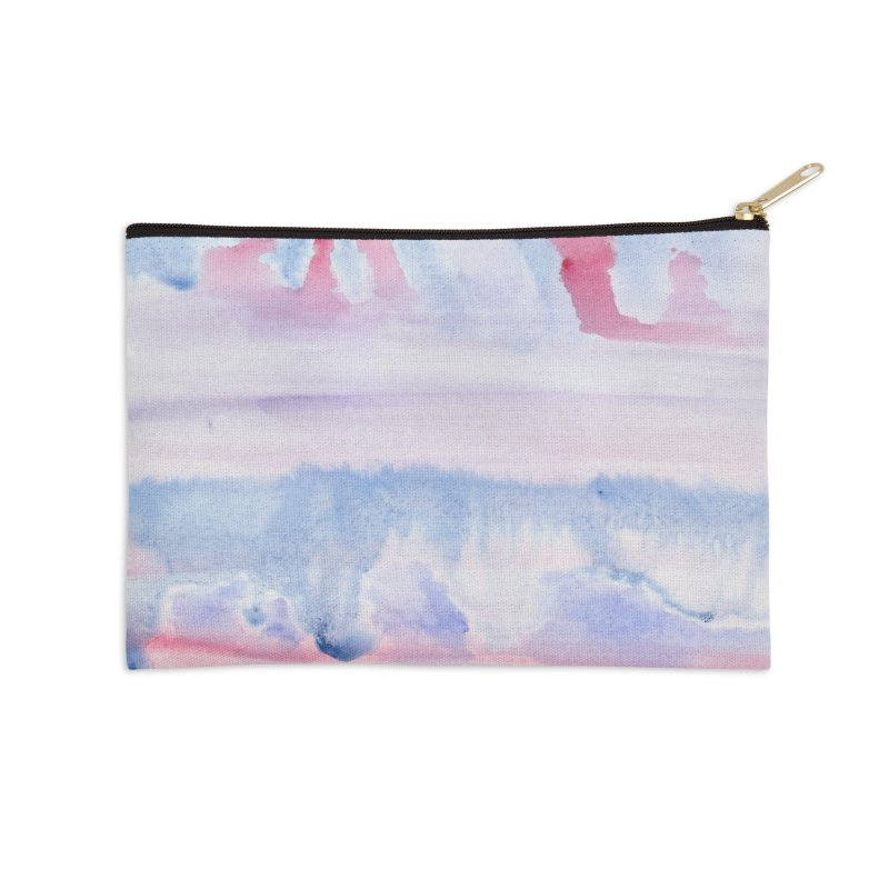 Pink Sky Watercolor Wash Accessories Zip Pouch by Rachel Mambach Art Shop