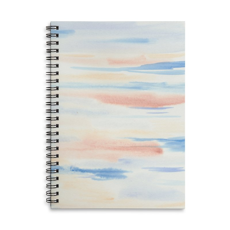 Sandy Sea Watercolor Wash Accessories Lined Spiral Notebook by Rachel Mambach Art Shop