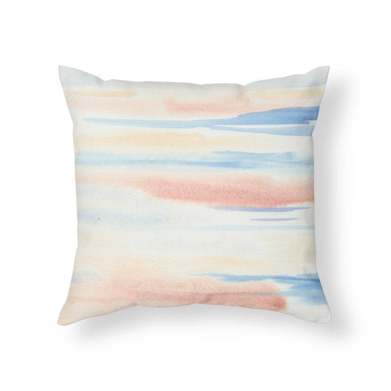 Sandy Sea Watercolor Wash Home Throw Pillow by Rachel Mambach Art Shop