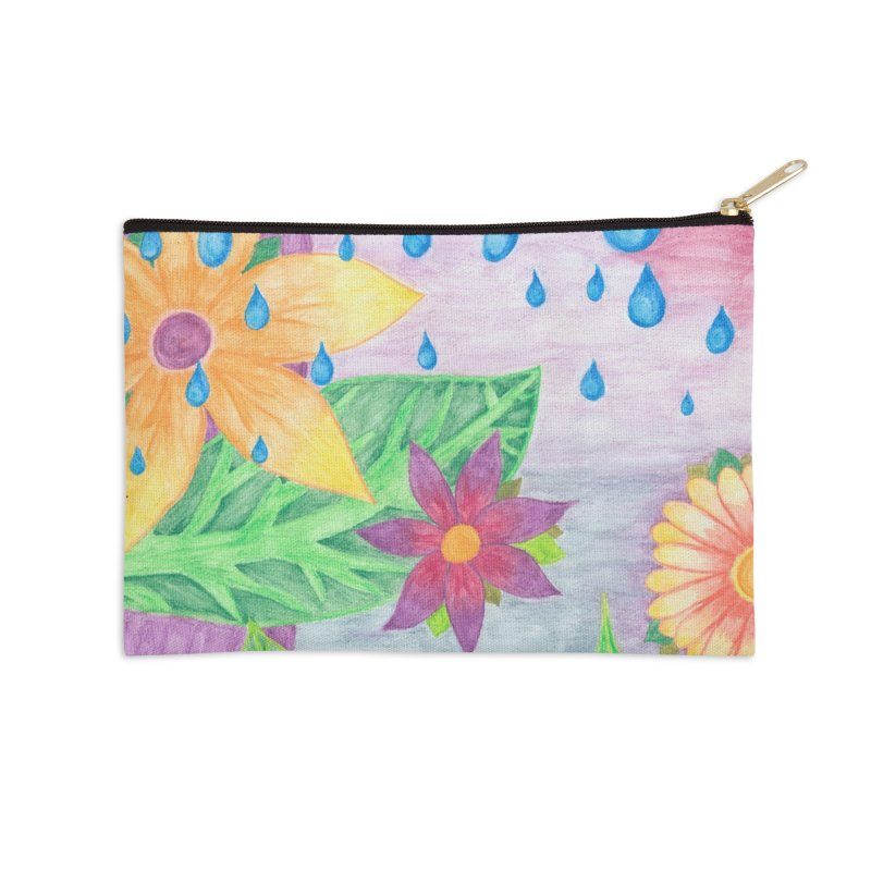 Blue Drops Accessories Zip Pouch by Rachel Mambach Art Shop