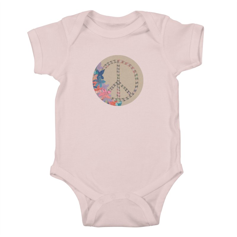 Peace and Flora Circle (Women/Kids) Kids Baby Bodysuit by Rachel Mambach Art Shop