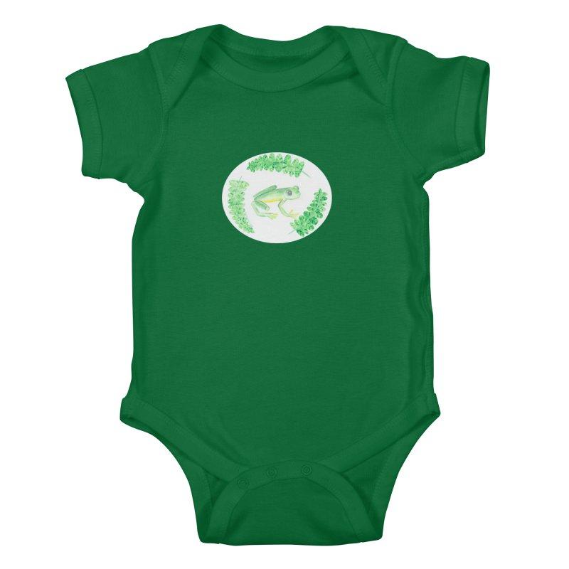 Froggy Friend Oval (Kids Only) Kids Baby Bodysuit by Rachel Mambach Art Shop