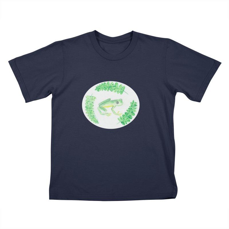 Froggy Friend Oval (Kids Only) Kids T-Shirt by Rachel Mambach Art Shop