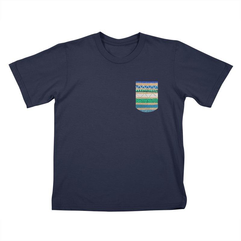 Blue and Green Sampler Faux Pocket (Women/Men/Kids) Kids T-Shirt by Rachel Mambach Art Shop