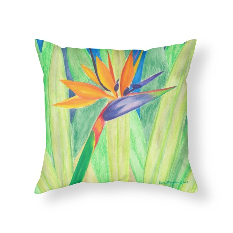Bird of Paradise Home Throw Pillow by Rachel Mambach Art Shop