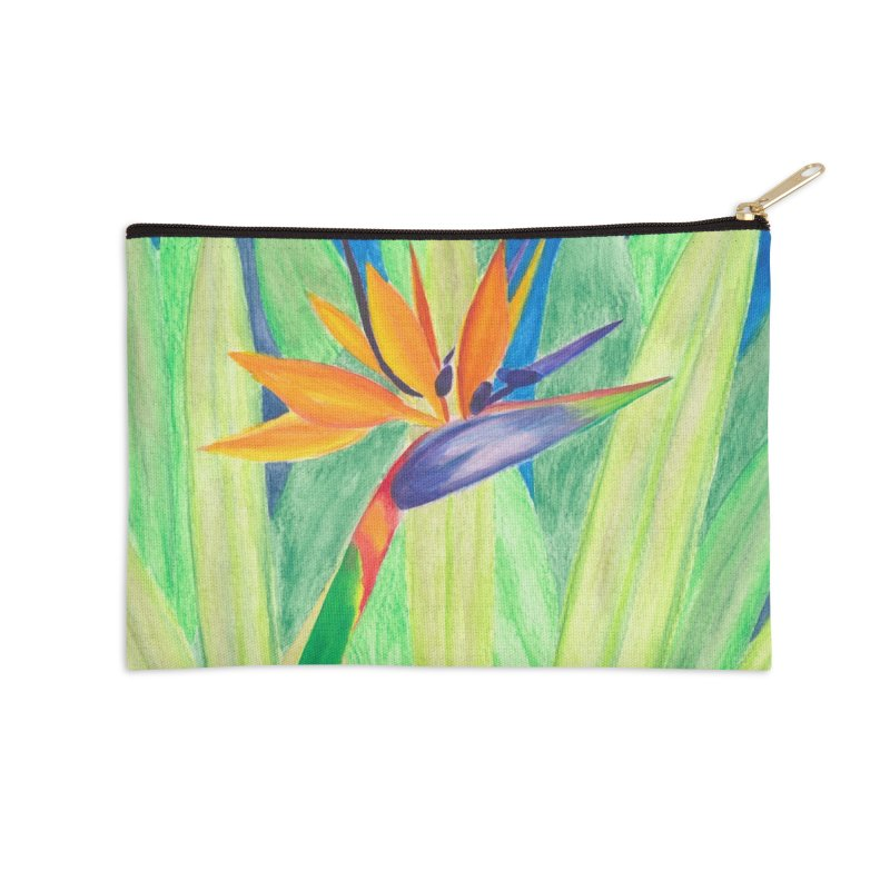 Bird of Paradise Accessories Zip Pouch by Rachel Mambach Art Shop