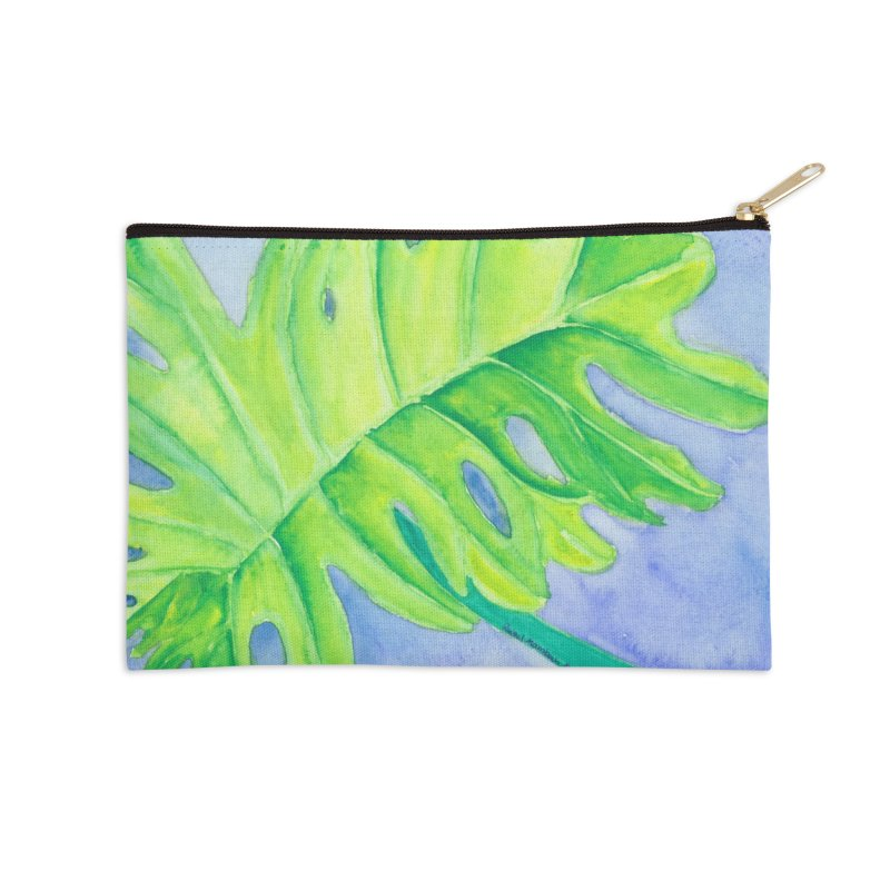 Lush Leaf Accessories Zip Pouch by Rachel Mambach Art Shop