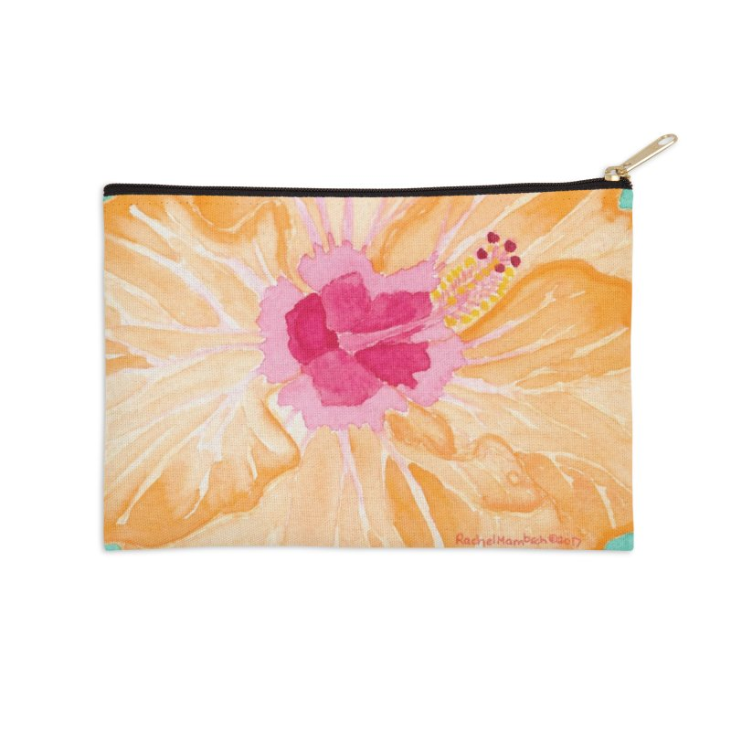 Hibiscus Accessories Zip Pouch by Rachel Mambach Art Shop