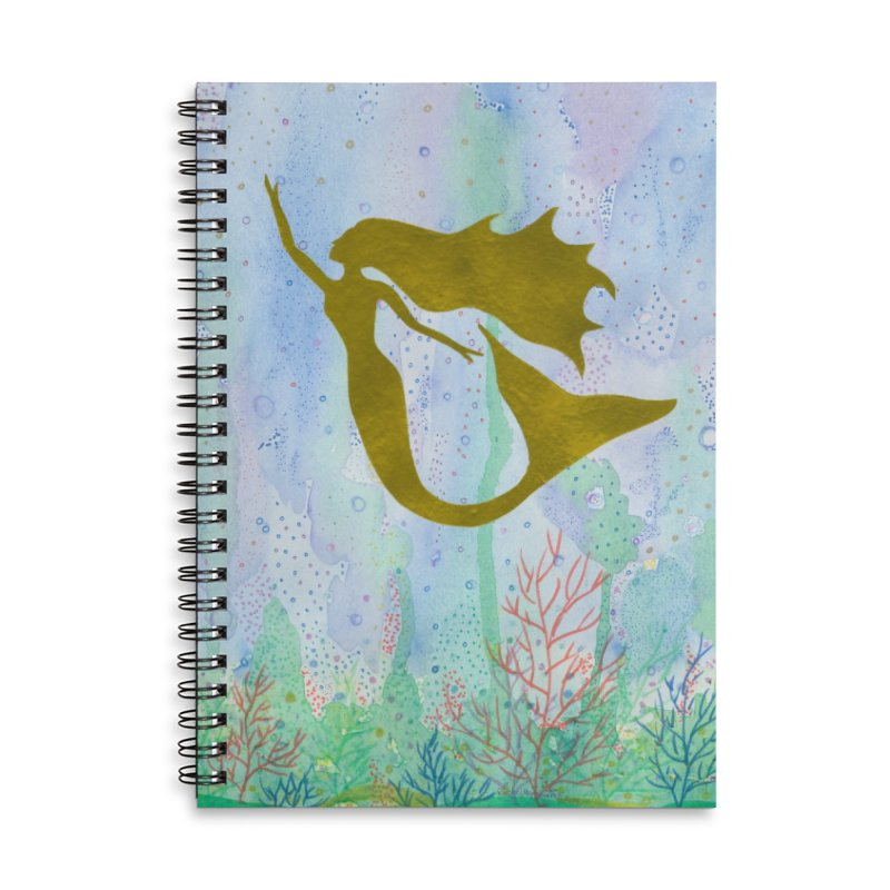 Miracle Mermaid Accessories Lined Spiral Notebook by Rachel Mambach Art Shop