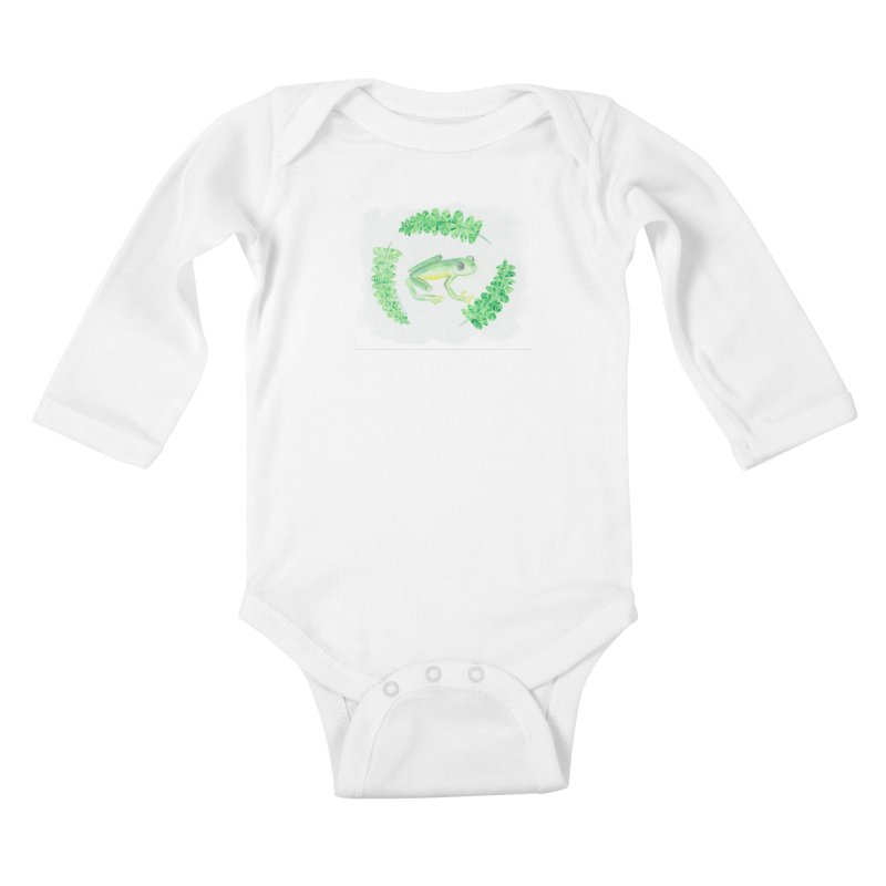 Froggy Friend Kids Baby Longsleeve Bodysuit by Rachel Mambach Art Shop