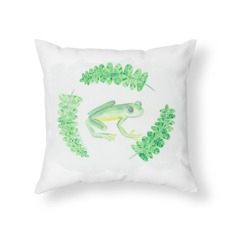 Froggy Friend Home Throw Pillow by Rachel Mambach Art Shop