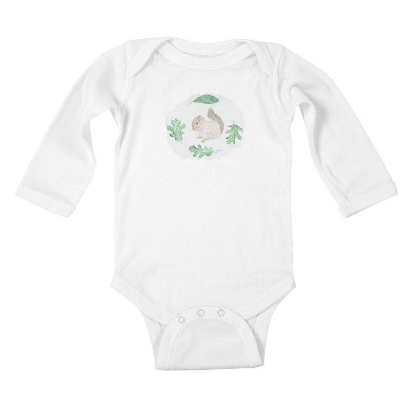 Baby Squirrel Kids Baby Longsleeve Bodysuit by Rachel Mambach Art Shop