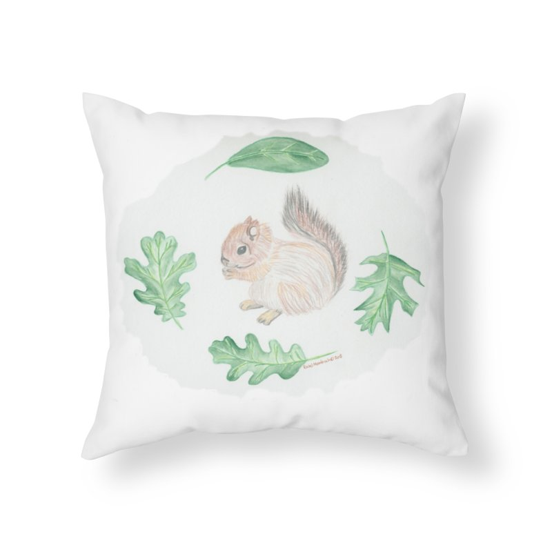Baby Squirrel Home Throw Pillow by Rachel Mambach Art Shop