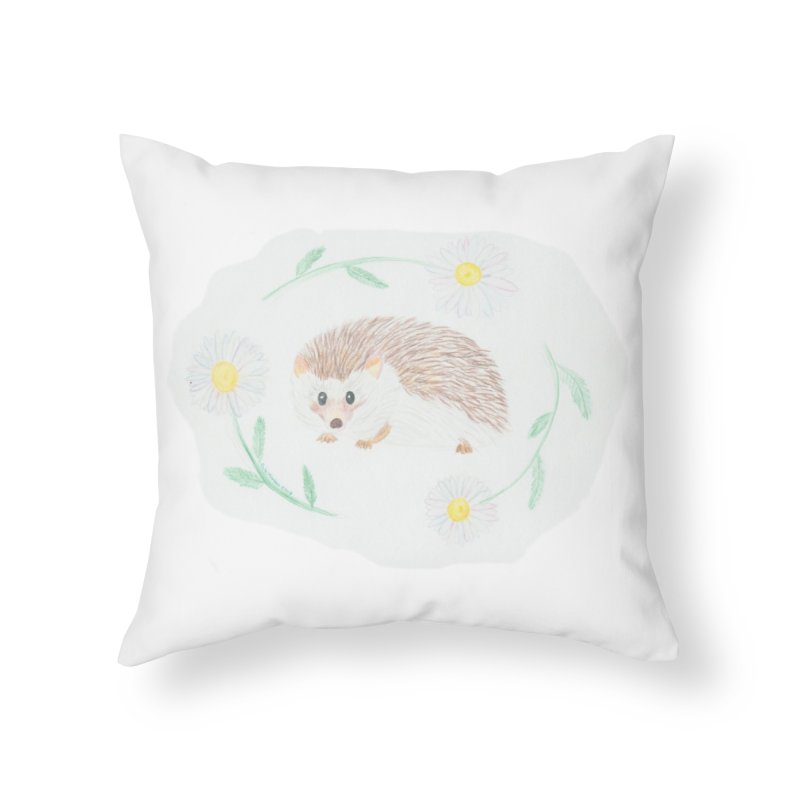 Happy Little Hedgehog Home Throw Pillow by Rachel Mambach Art Shop