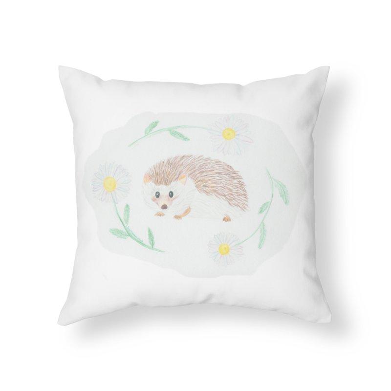 Happy Little Hedgehog Home Throw Pillow by Rachel Mambach Art Shop