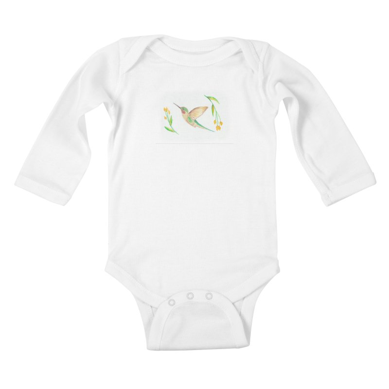 Delightful Hummingbird Kids Baby Longsleeve Bodysuit by Rachel Mambach Art Shop