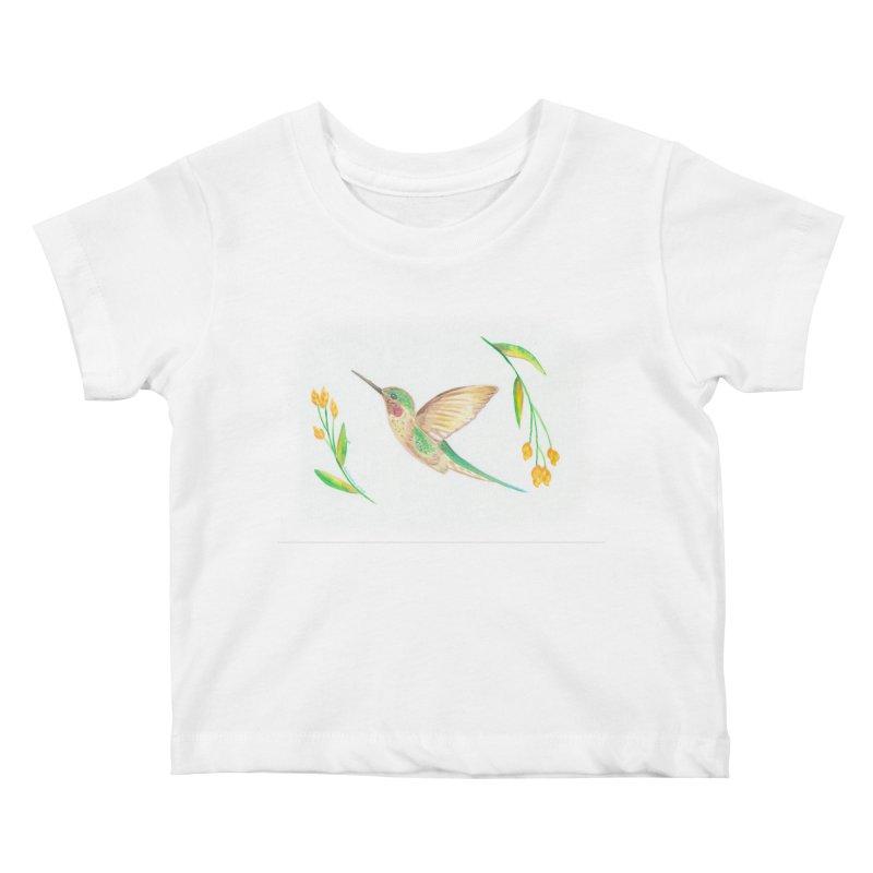 Delightful Hummingbird Kids Baby T-Shirt by Rachel Mambach Art Shop