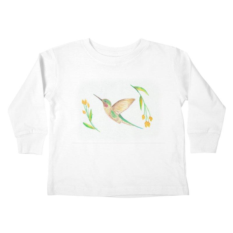 Delightful Hummingbird Kids Toddler Longsleeve T-Shirt by Rachel Mambach Art Shop