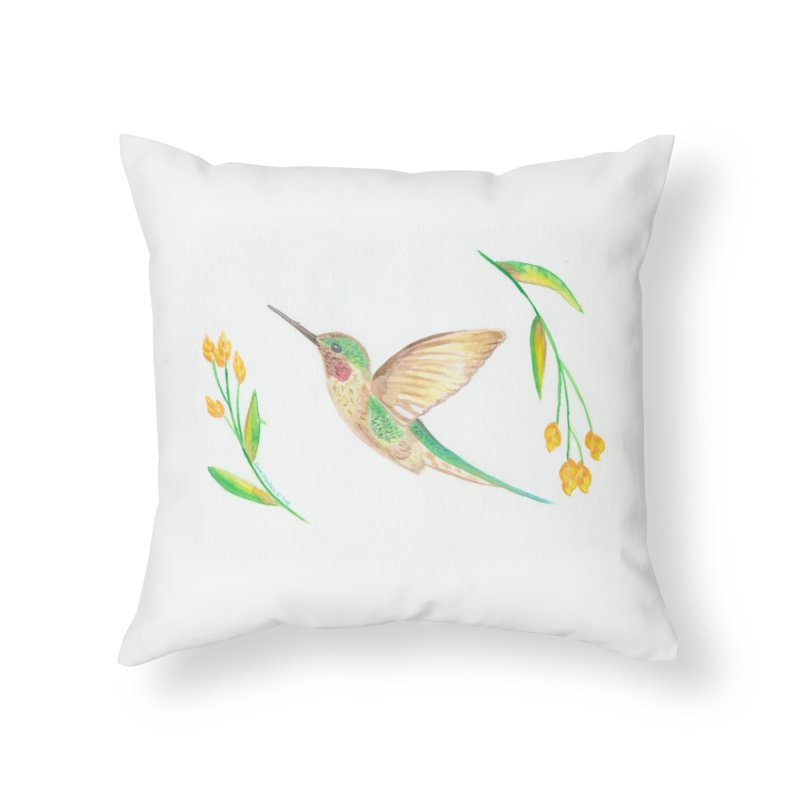 Delightful Hummingbird Home Throw Pillow by Rachel Mambach Art Shop