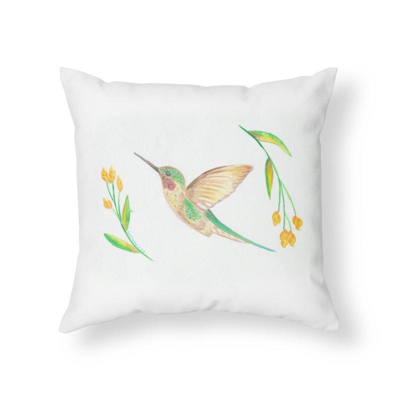 Delightful Hummingbird Home Throw Pillow by Rachel Mambach Art Shop