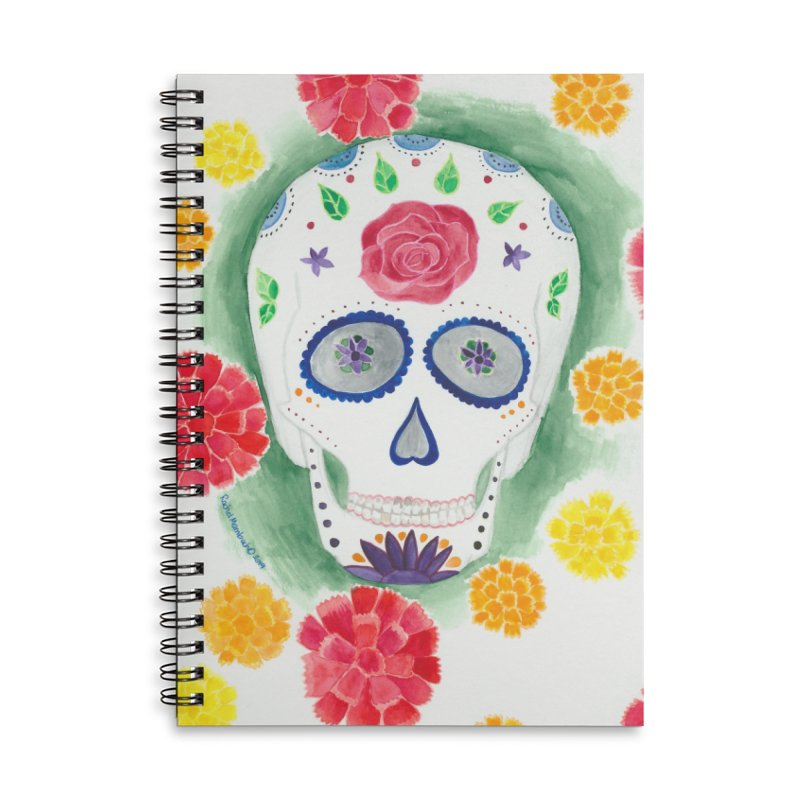 Calavera Accessories Lined Spiral Notebook by Rachel Mambach Art Shop