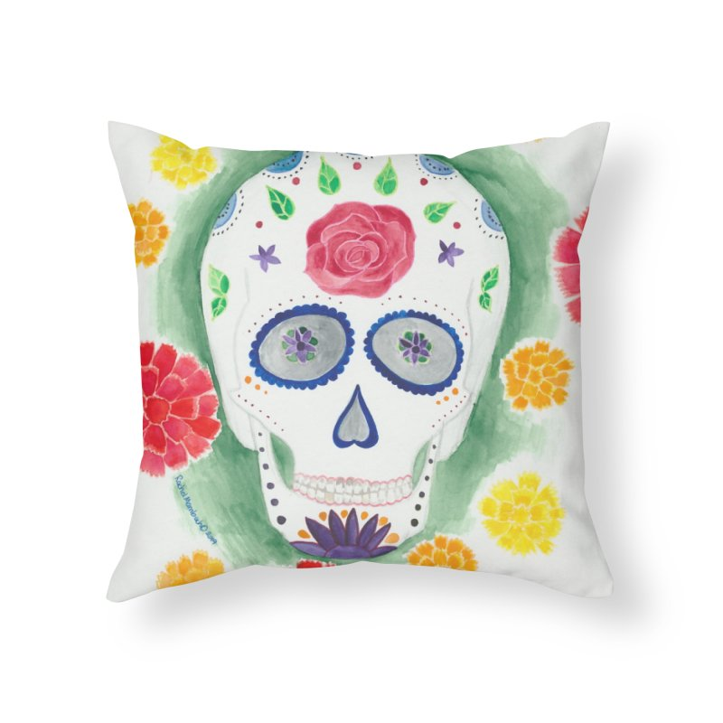 Calavera Home Throw Pillow by Rachel Mambach Art Shop