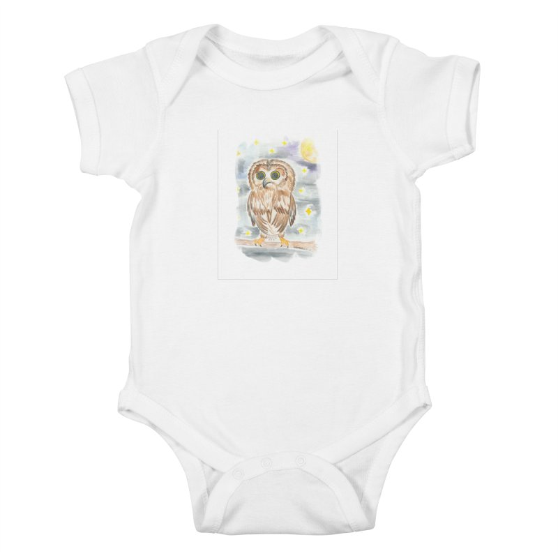 Baby Owl Kids Baby Bodysuit by Rachel Mambach Art Shop