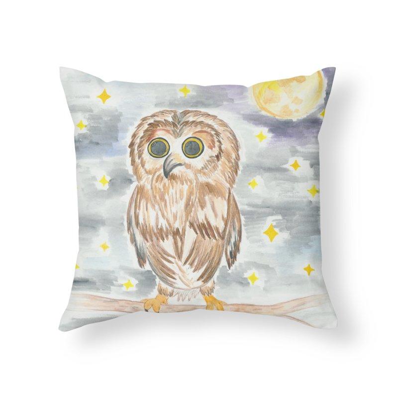 Baby Owl Home Throw Pillow by Rachel Mambach Art Shop