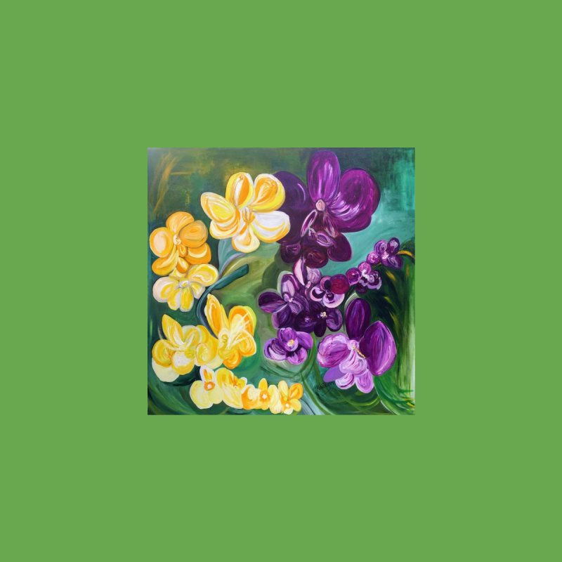 Yellow and Purple Orchids by Artist Rana Ryan by Rana Ryan's Artist Shop