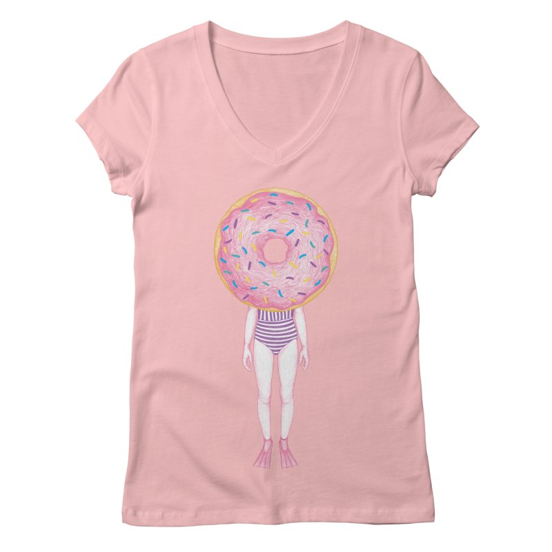 The Summer Treats: Pool Party Doughtnut  Women's V-Neck by Ranggasme's Artist Shop