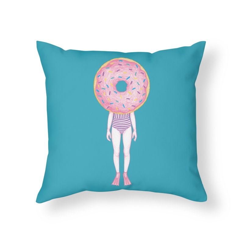 The Summer Treats: Pool Party Doughtnut  Home Throw Pillow by Ranggasme's Artist Shop