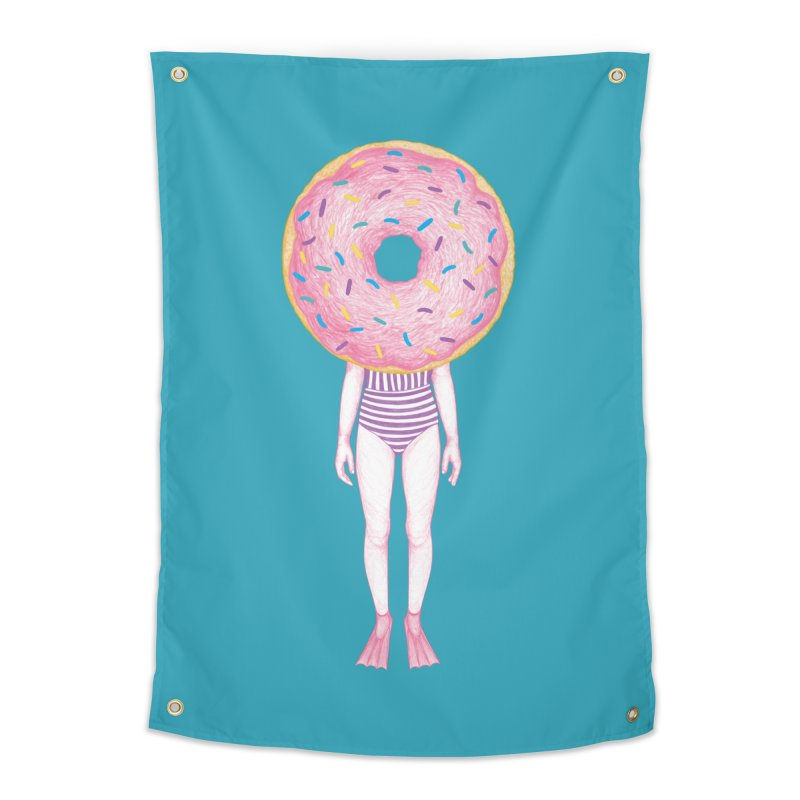 The Summer Treats: Pool Party Doughtnut  Home Tapestry by Ranggasme's Artist Shop