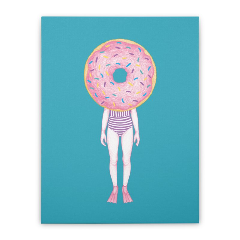 The Summer Treats: Pool Party Doughtnut  Home Stretched Canvas by Ranggasme's Artist Shop