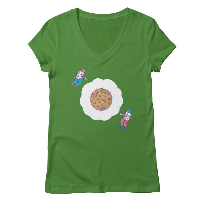Moon Yolk Women's V-Neck by Ranggasme's Artist Shop