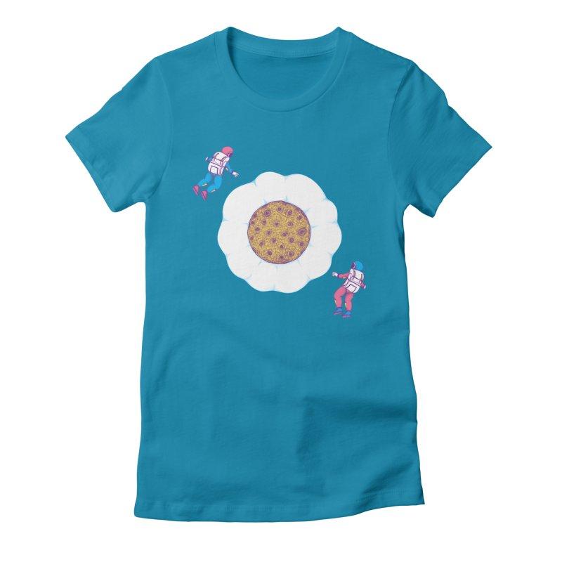 Moon Yolk Women's Fitted T-Shirt by Ranggasme's Artist Shop