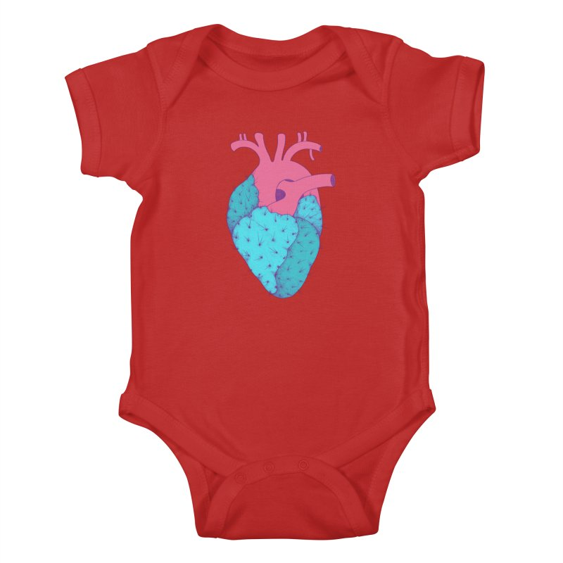 Cactus Heart Kids Baby Bodysuit by Ranggasme's Artist Shop