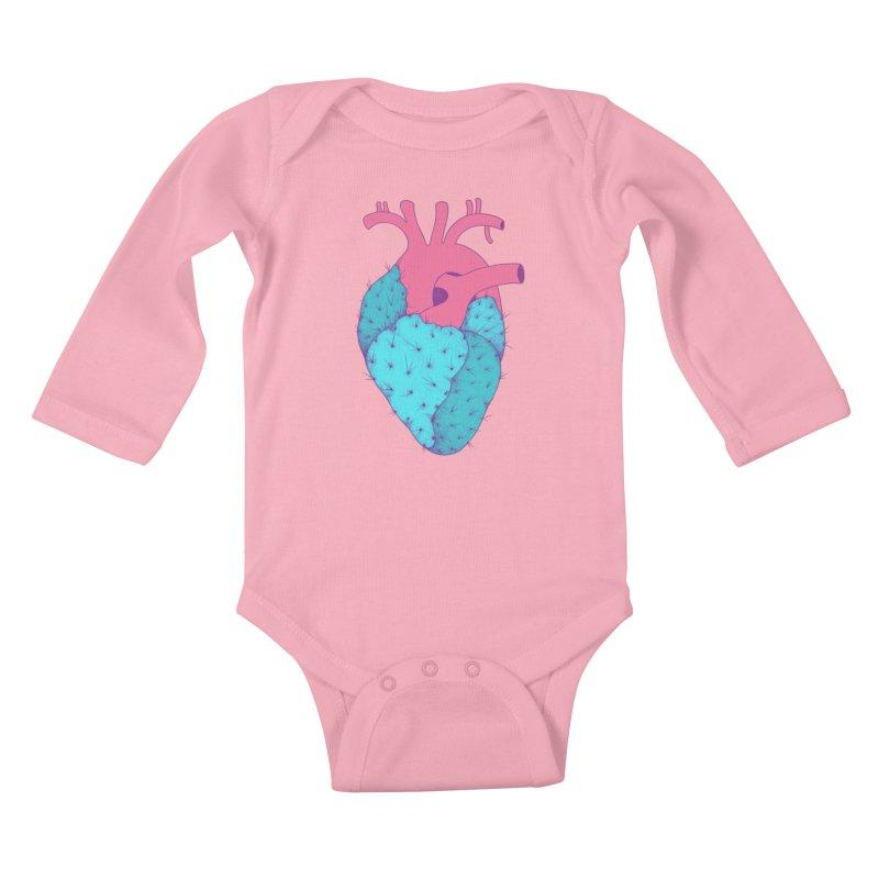 Cactus Heart Kids Baby Longsleeve Bodysuit by Ranggasme's Artist Shop