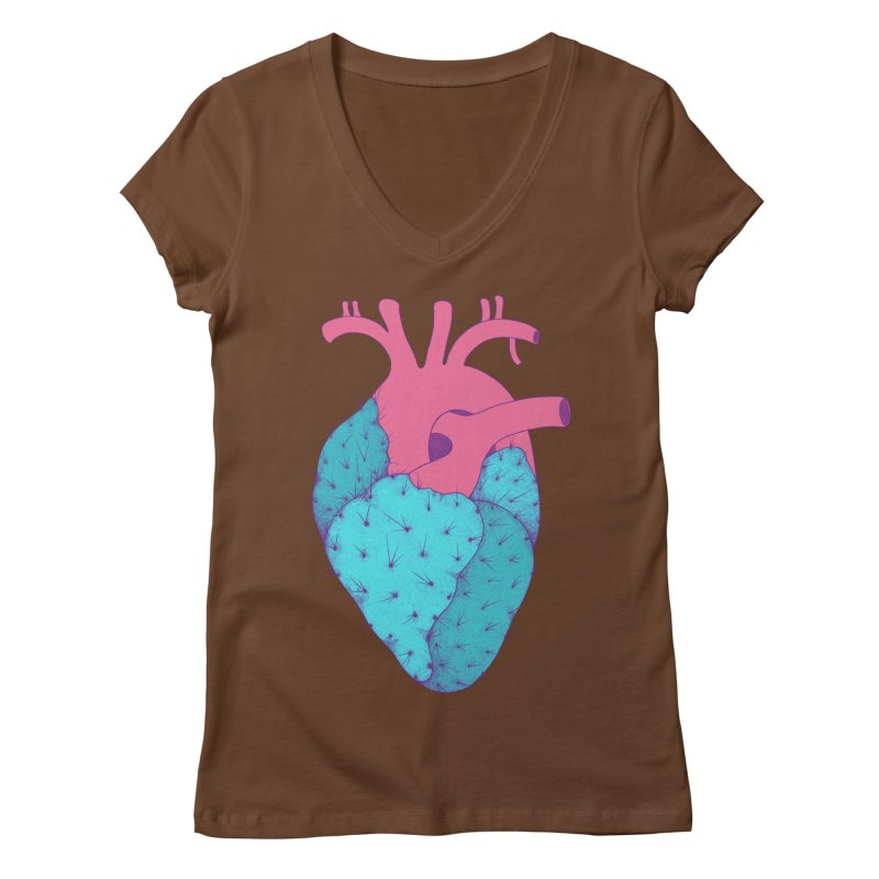 Cactus Heart Women's V-Neck by Ranggasme's Artist Shop