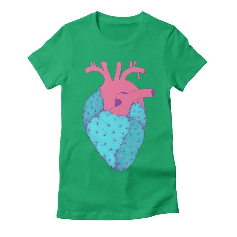 Cactus Heart Women's Fitted T-Shirt by Ranggasme's Artist Shop